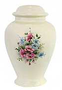 Blue and Pink Rose Garden Ceramic Urn