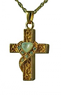 Gold cross with heart mother of pearl pendant Cremation Urn