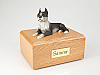 Boston Terrier White-Gray Laying Dog Figurine Cremation Urn