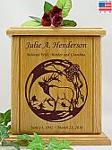 Bugling Elk Wood Cremation Urn
