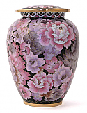 Traditional Floral Blush Cloisonne Cremation Urn