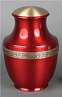 Deep Red Brass Cremation Urn