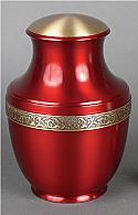 Deep Red Brass Cremation Urn