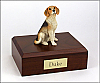 Beagle White-Brown Sitting Dog Figurine Cremation Urn
