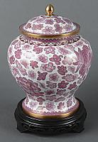 Hong Kong Pink Cloisonne Cremation Urn