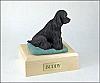 Cocker, Black Sitting  Dog Figurine Cremation Urn
