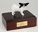 Papillon, Black-White Dog Figurine Cremation Urn