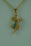 Gold Lizard Turquoise Jewelry Cremation Urn