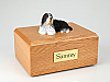 Bearded CollieBlack-white Laying Dog Figurine Cremation Urn