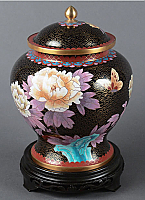 Hong Kong Black Cloisonne Cremation Urn