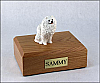 Pomeranian, White Dog Figurine Cremation Urn