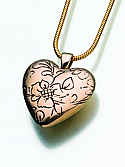 Bronze Floral Heart Cremation Pendant