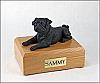 Pug, Black Ears Down Laying Dog Figurine Cremation Urn