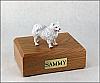 American Eskimo White Standing Dog Figurine Cremation Urn