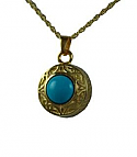 Gold Turquoise round pendant Cremation Urn