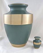 Rustic Sage Brass Cremation Urn