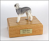 Bedlington Terrier Gray Standing Dog Figurine Cremation Urn