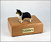 Collie, Black/White/Red  Dog Figurine Cremation Urn