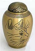 Large Brass Etched Cat Urn