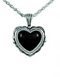 Heart with onyx stone jewelry urn