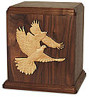 Love Birds Companion Wood Cremation Urn