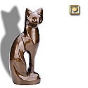 Pearlescent Bronze Cat Cremation Urn