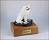 Samoyed White Sitting Dog Figurine Cremation Urn