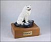Samoyed White Sitting Dog Figurine Cremation Urn