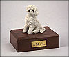 Bichon Frise Beige Sitting Dog Figurine Cremation Urn