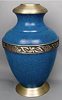 Roman III Brass Cremation Urn Blue