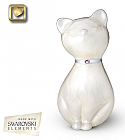 Jeweled White Cat Cremation Urn