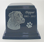 Large Square Cultured Granite Pet Cremation Urn