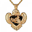 Gold Motorcycle and Eagle Pendant Cremation Urn
