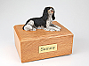 King Charles Spaniel, Black Laying Dog Figurine Cremation Urn