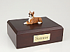 Boxer, Fawn White-Peru Ears Up laying Dog Figurine Cremation Urn