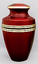 Crimson Brass Cremation Urn