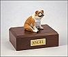 Bulldog  Fawn White-Peru Sitting Dog Figurine Cremation Urn