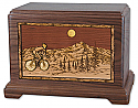 Bicycle Rider Wood Inlay Cremation Urn
