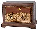 Bicycle Rider Wood Inlay Cremation Urn