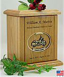 Recessed Oval with Motorcycle Wood Cremation Urn