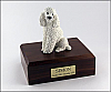 Poodle, Sitting, White Dog Figurine Cremation Urn