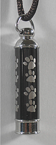 Paw Print Stainless Steel Cylinder Pendant Cremation Urn
