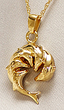 Gold Circle of Dolphins Pendant