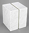 Bianco Carrera Marble Double Cremation Urn with Trim