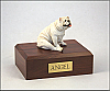 Bulldog  White Sitting Dog Figurine Cremation Urn