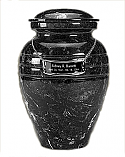 Beautiful Black Grain Marble Cremation Urn