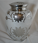 Polished Nickel and White Flower Cremation Urn