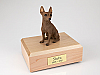 Miniature Pincher, Red Sitting Dog Figurine Cremation Urn
