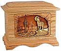 Desert Coyote Wooden Cremation Urn