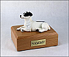 Jack Russell Terrier, Black Laying Dog Figurine Cremation Urn